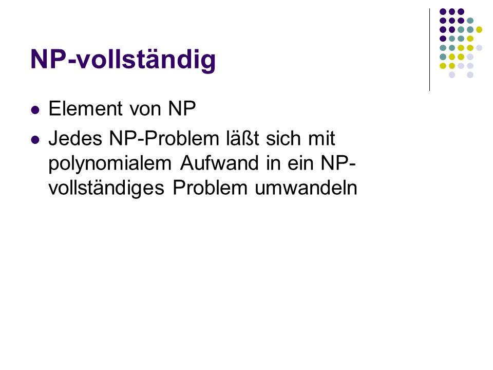NP-vollständig Element von NP Jedes NP-Problem läßt sich mit polynomialem Aufwand in ein NP- vollständiges Problem umwandeln