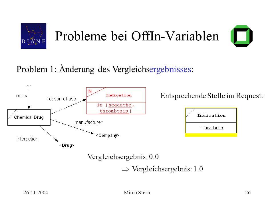 26.11.2004Mirco Stern26 Probleme bei OffIn-Variablen Entsprechende Stelle im Request: Problem 1: Änderung des Vergleichsergebnisses: Vergleichsergebnis: 0.0 Vergleichsergebnis: 1.0 IN