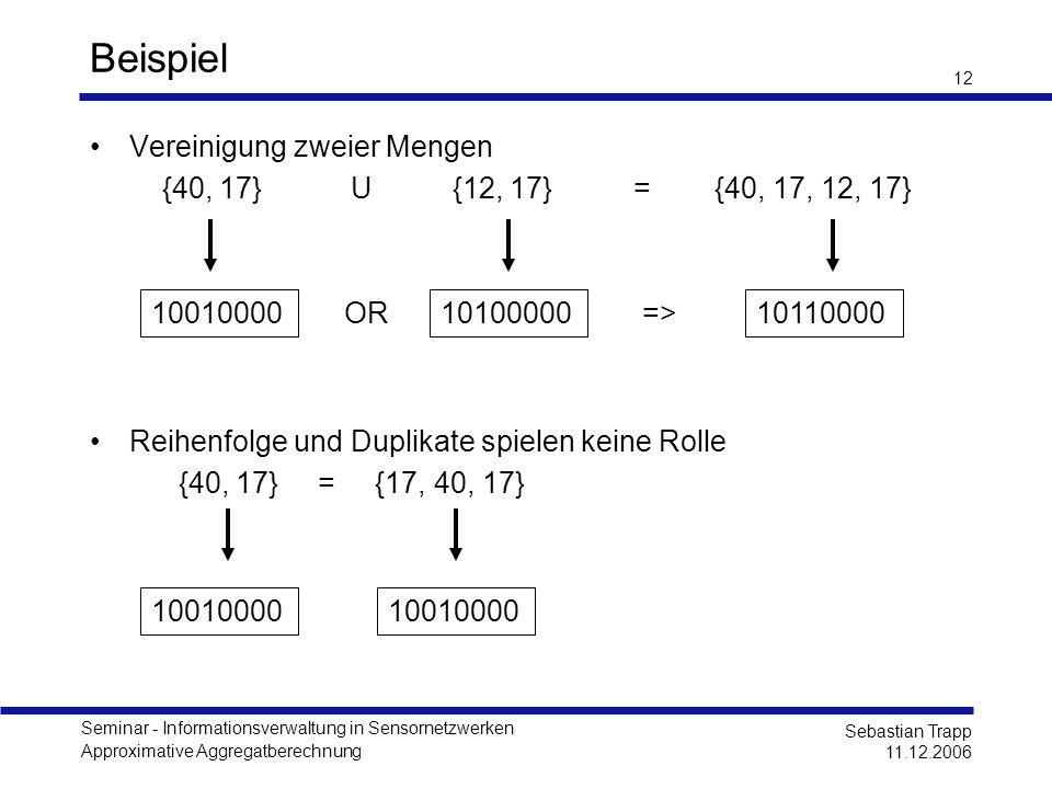 Seminar - Informationsverwaltung in Sensornetzwerken Approximative Aggregatberechnung Sebastian Trapp 11.12.2006 12 Beispiel Vereinigung zweier Mengen