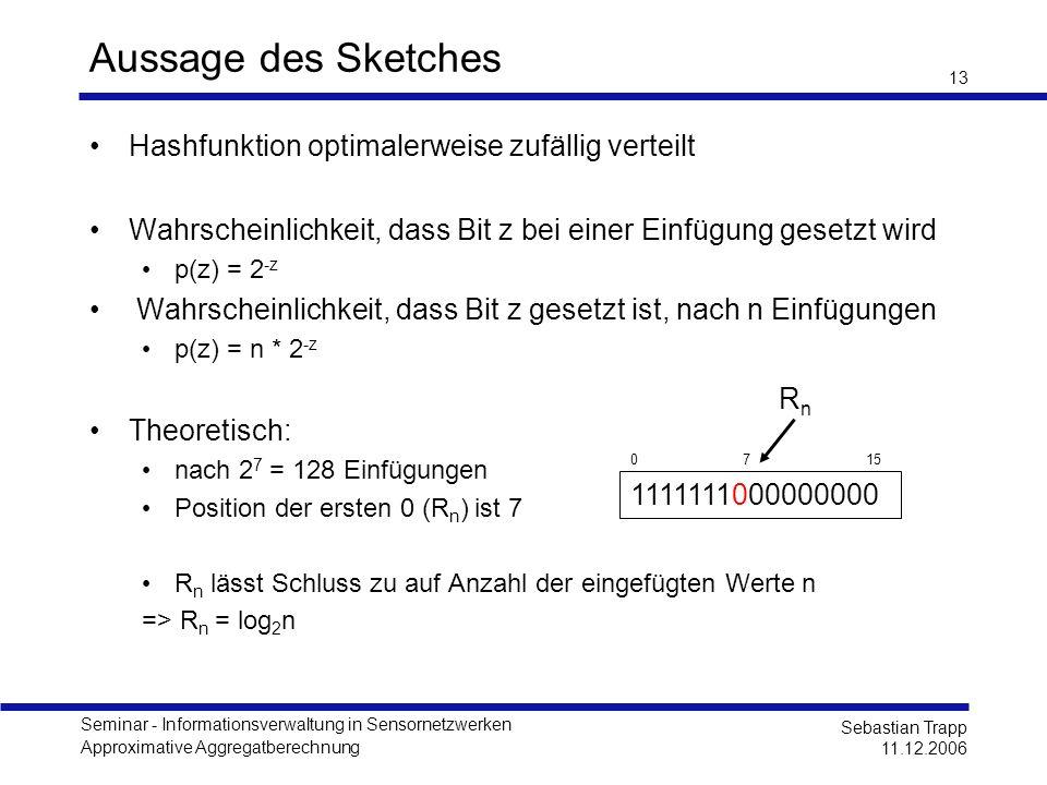 Seminar - Informationsverwaltung in Sensornetzwerken Approximative Aggregatberechnung Sebastian Trapp 11.12.2006 13 Aussage des Sketches Hashfunktion