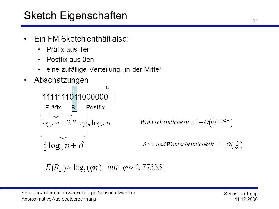 Seminar - Informationsverwaltung in Sensornetzwerken Approximative Aggregatberechnung Sebastian Trapp 11.12.2006 14 Sketch Eigenschaften Ein FM Sketch