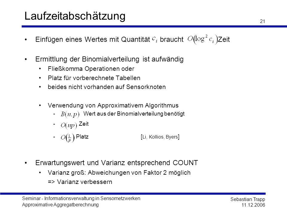 Seminar - Informationsverwaltung in Sensornetzwerken Approximative Aggregatberechnung Sebastian Trapp 11.12.2006 21 Laufzeitabschätzung Einfügen eines