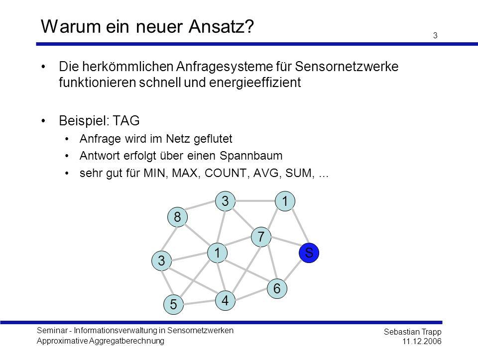 Seminar - Informationsverwaltung in Sensornetzwerken Approximative Aggregatberechnung Sebastian Trapp 11.12.2006 3 Warum ein neuer Ansatz? Die herkömm