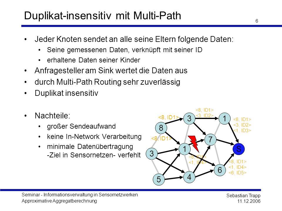 Seminar - Informationsverwaltung in Sensornetzwerken Approximative Aggregatberechnung Sebastian Trapp 11.12.2006 6 Duplikat-insensitiv mit Multi-Path