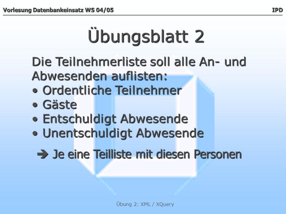 Vorlesung Datenbankeinsatz WS 04/05 IPD Übung 2: XML / XQuery Übungsblatt 2 Liste von Personen mit Anwesenden, Gästen, (un)entschuldigt Abwesenden Die Datentypen Die Datentypen teilnehmer, gaeste, entschuldigt, unentschuldigt