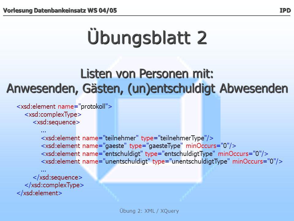Vorlesung Datenbankeinsatz WS 04/05 IPD Übung 2: XML / XQuery Übungsblatt 2 Der Datentypen Der Datentypen teilnehmerType, gaesteType, entschuldigtType, unentschuldigtType.........