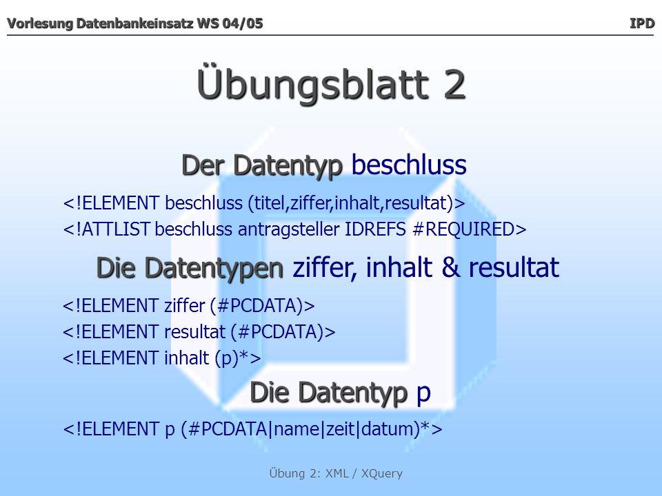 Vorlesung Datenbankeinsatz WS 04/05 IPD Übung 2: XML / XQuery Übungsblatt 2 Der Datentyp Der Datentyp kenntnisnahme Die Datentypen Die Datentypen ziffer, inhalt & resultat Die Datentyp Die Datentyp p