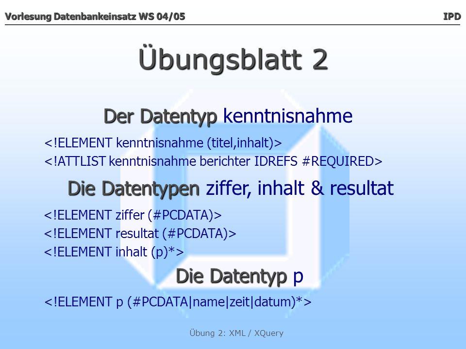 Vorlesung Datenbankeinsatz WS 04/05 IPD Übung 2: XML / XQuery Übungsblatt 2 Der Datentyp Der Datentyp beschlussType Die Datentypen Die Datentypen ziffer & resultat