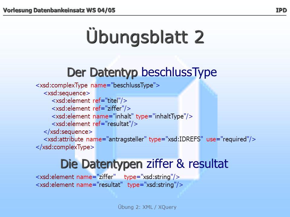 Vorlesung Datenbankeinsatz WS 04/05 IPD Übung 2: XML / XQuery Übungsblatt 2 Der Datentyp Der Datentyp inhaltType Der Datentyp Der Datentyp pType