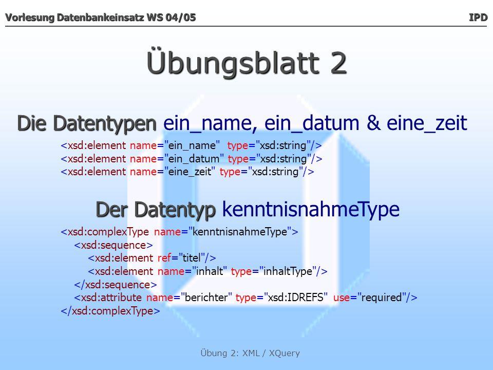 Vorlesung Datenbankeinsatz WS 04/05 IPD Übung 2: XML / XQuery Übungsblatt 2 Der Datentyp Der Datentyp protokoll Und wie wird das alles zusammengesetzt?