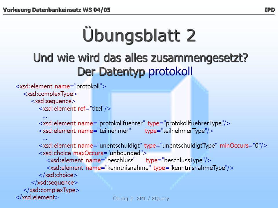 Vorlesung Datenbankeinsatz WS 04/05 IPD Übung 2: XML / XQuery Übungsblatt 3 Stellen Sie die Gesamtzahl sowie die Anzahl der männlichen und der weiblichen Sitzungsteilnehmer fest.