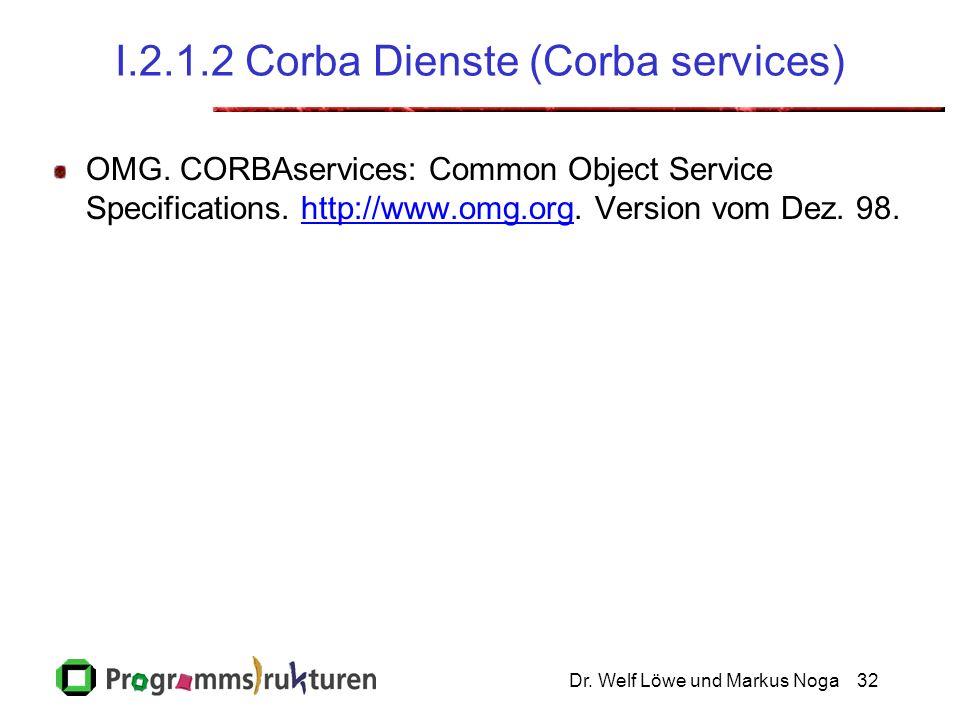Dr. Welf Löwe und Markus Noga32 I.2.1.2 Corba Dienste (Corba services) OMG.