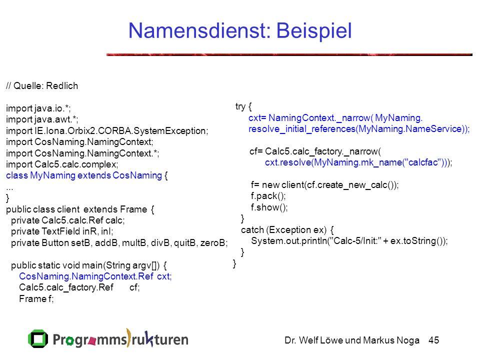 Dr. Welf Löwe und Markus Noga45 Namensdienst: Beispiel // Quelle: Redlich import java.io.*; import java.awt.*; import IE.Iona.Orbix2.CORBA.SystemExcep