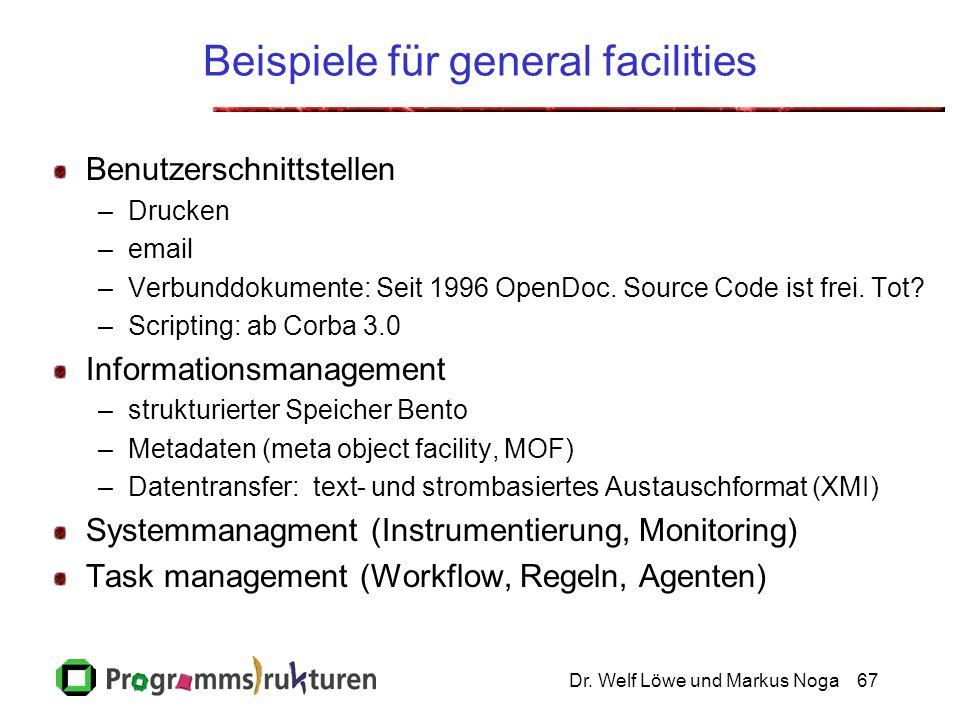 Dr. Welf Löwe und Markus Noga67 Beispiele für general facilities Benutzerschnittstellen –Drucken –email –Verbunddokumente: Seit 1996 OpenDoc. Source C