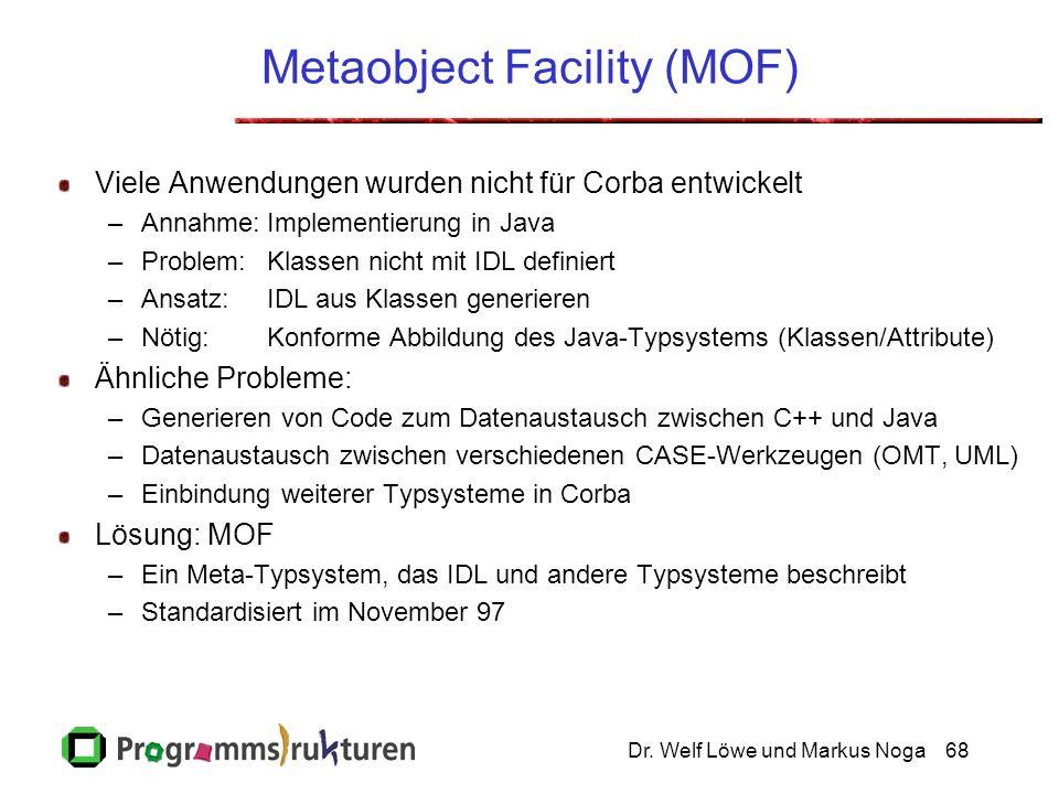 Dr. Welf Löwe und Markus Noga68 Metaobject Facility (MOF) Viele Anwendungen wurden nicht für Corba entwickelt –Annahme:Implementierung in Java –Proble