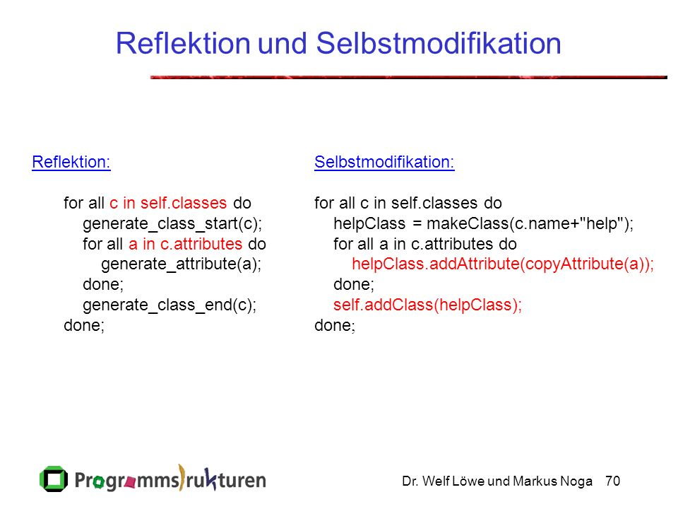 Dr. Welf Löwe und Markus Noga70 Reflektion und Selbstmodifikation Reflektion: for all c in self.classes do generate_class_start(c); for all a in c.att