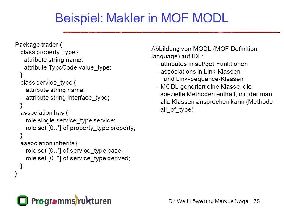 Dr. Welf Löwe und Markus Noga75 Beispiel: Makler in MOF MODL Package trader { class property_type { attribute string name; attribute TypcCode value_ty