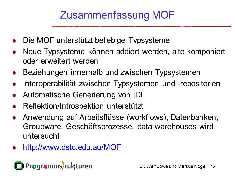 Dr. Welf Löwe und Markus Noga76 Zusammenfassung MOF Die MOF unterstützt beliebige Typsysteme Neue Typsysteme können addiert werden, alte komponiert od