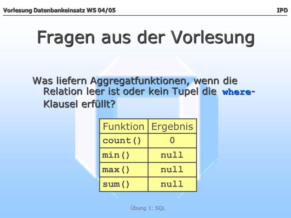 Vorlesung Datenbankeinsatz WS 04/05 IPD Übung 1: SQL Fragen aus der Vorlesung Was liefern Aggregatfunktionen, wenn die Relation leer ist oder kein Tup