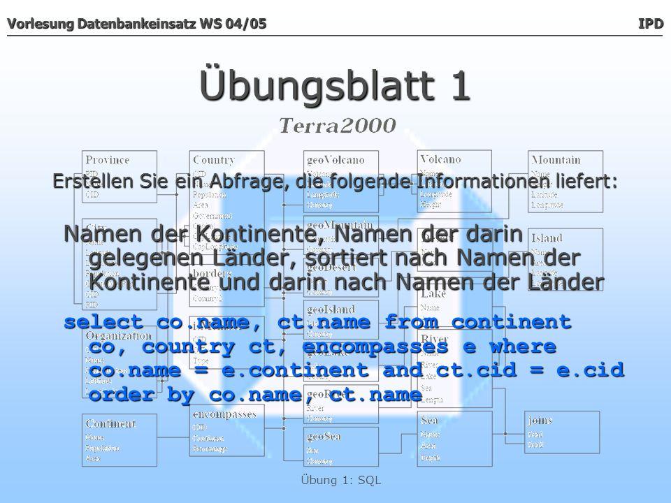 Vorlesung Datenbankeinsatz WS 04/05 IPD Übung 1: SQL Übungsblatt 1 Namen der Kontinente, Namen der darin gelegenen Länder, sortiert nach Namen der Kon