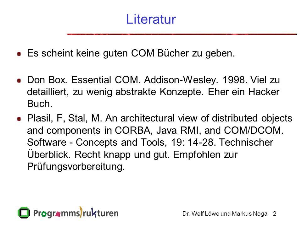 Dr. Welf Löwe und Markus Noga2 Literatur Es scheint keine guten COM Bücher zu geben.