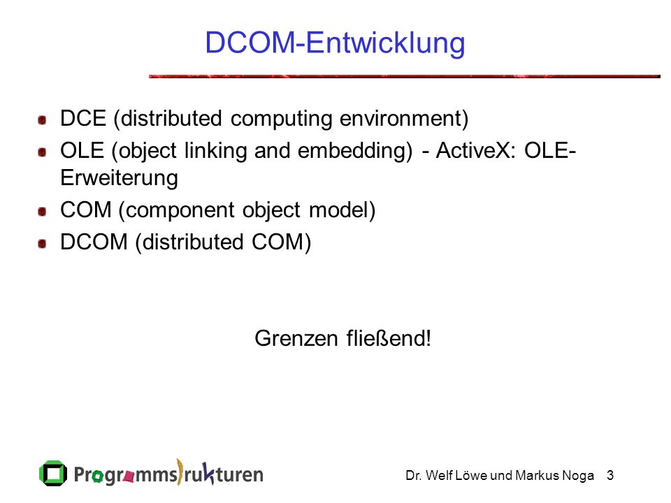 Dr. Welf Löwe und Markus Noga3 DCOM-Entwicklung DCE (distributed computing environment) OLE (object linking and embedding) - ActiveX: OLE- Erweiterung