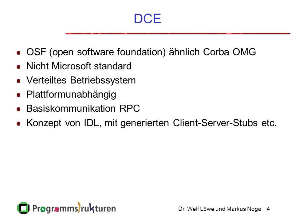 Dr. Welf Löwe und Markus Noga4 DCE OSF (open software foundation) ähnlich Corba OMG Nicht Microsoft standard Verteiltes Betriebssystem Plattformunabhä