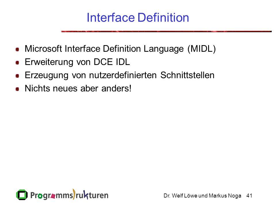 Dr. Welf Löwe und Markus Noga41 Interface Definition Microsoft Interface Definition Language (MIDL) Erweiterung von DCE IDL Erzeugung von nutzerdefini