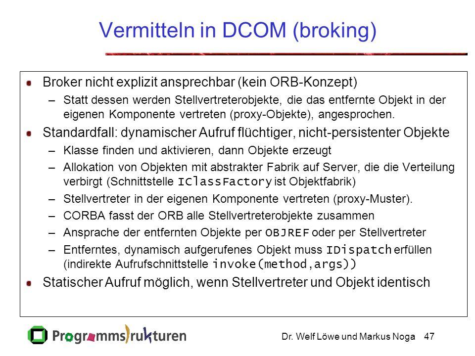 Dr. Welf Löwe und Markus Noga47 Vermitteln in DCOM (broking) Broker nicht explizit ansprechbar (kein ORB-Konzept) –Statt dessen werden Stellvertretero