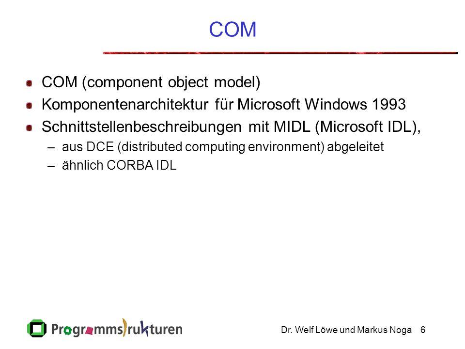 Dr. Welf Löwe und Markus Noga6 COM COM (component object model) Komponentenarchitektur für Microsoft Windows 1993 Schnittstellenbeschreibungen mit MID
