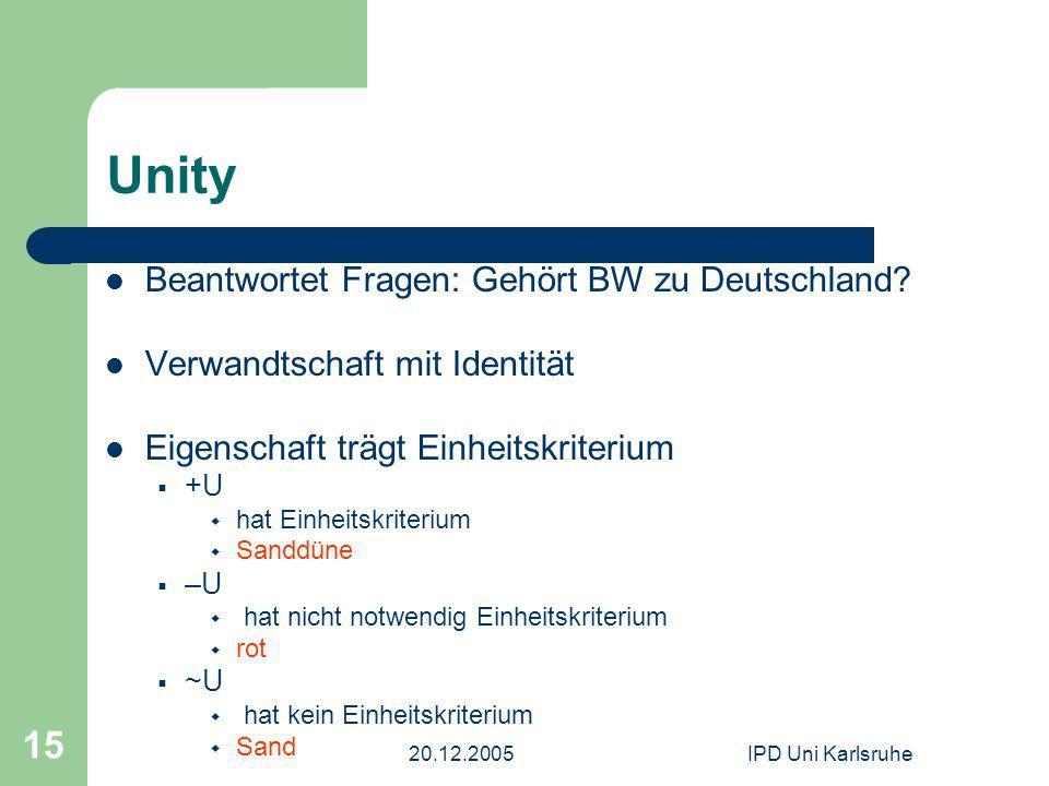20.12.2005IPD Uni Karlsruhe 15 Unity Beantwortet Fragen: Gehört BW zu Deutschland? Verwandtschaft mit Identität Eigenschaft trägt Einheitskriterium +U