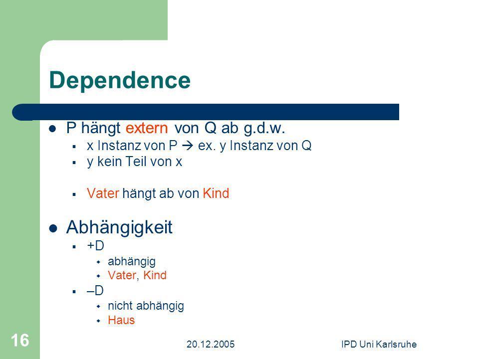 20.12.2005IPD Uni Karlsruhe 16 Dependence P hängt extern von Q ab g.d.w. x Instanz von P ex. y Instanz von Q y kein Teil von x Vater hängt ab von Kind