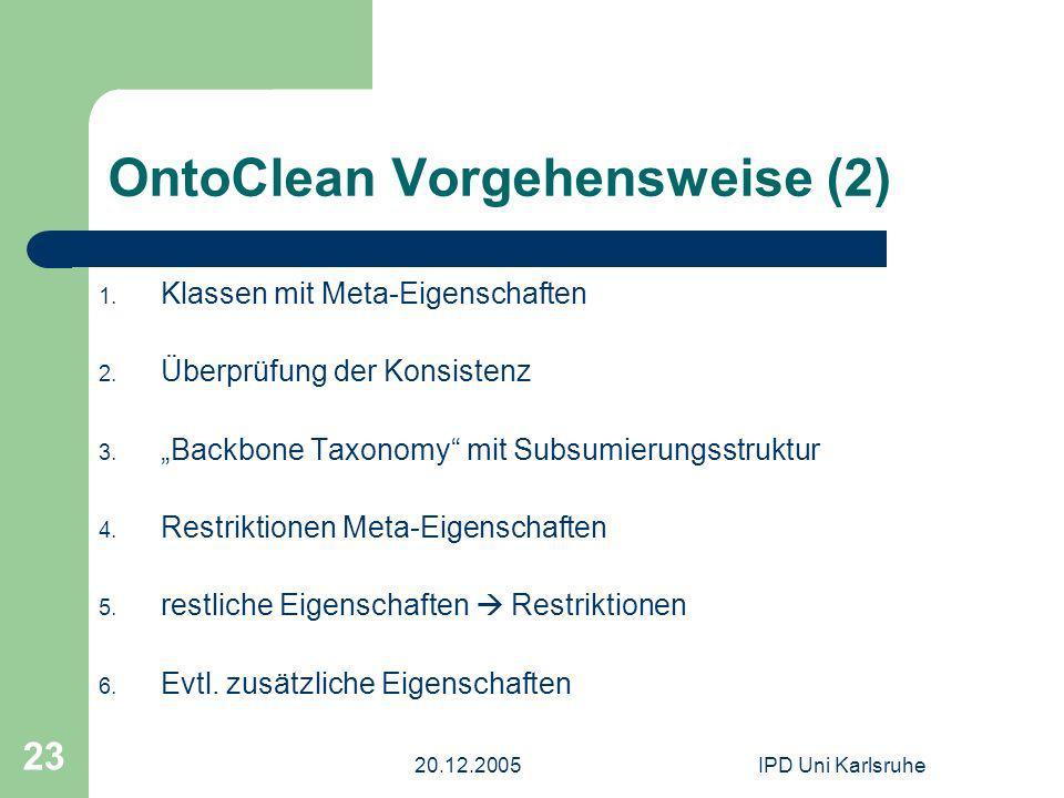 20.12.2005IPD Uni Karlsruhe 23 OntoClean Vorgehensweise (2) 1. Klassen mit Meta-Eigenschaften 2. Überprüfung der Konsistenz 3. Backbone Taxonomy mit S