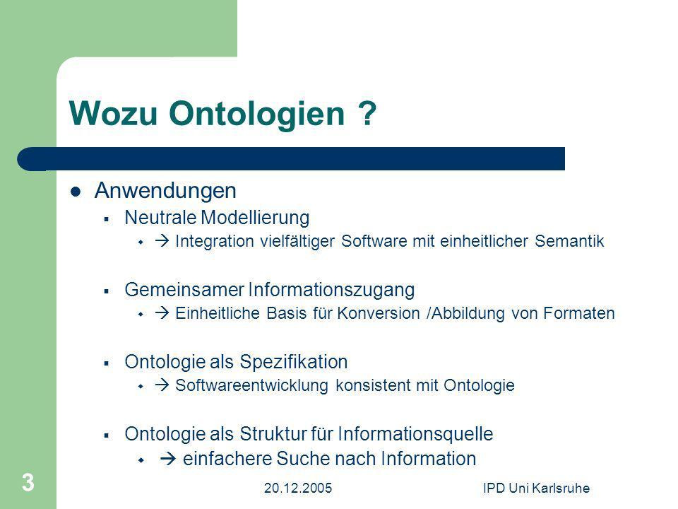 20.12.2005IPD Uni Karlsruhe 3 Wozu Ontologien ? Anwendungen Neutrale Modellierung Integration vielfältiger Software mit einheitlicher Semantik Gemeins