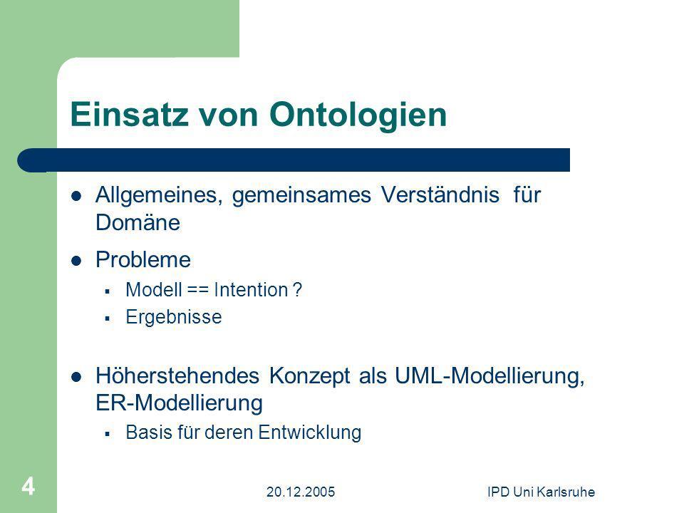 20.12.2005IPD Uni Karlsruhe 4 Einsatz von Ontologien Allgemeines, gemeinsames Verständnis für Domäne Probleme Modell == Intention ? Ergebnisse Höherst