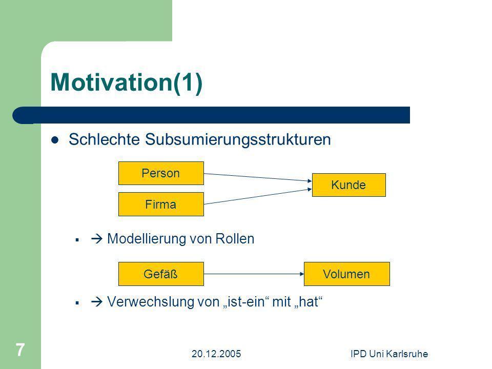 20.12.2005IPD Uni Karlsruhe 7 Motivation(1) Schlechte Subsumierungsstrukturen Modellierung von Rollen Verwechslung von ist-ein mit hat Person Firma Kunde GefäßVolumen