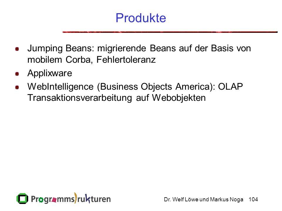 Dr. Welf Löwe und Markus Noga104 Produkte Jumping Beans: migrierende Beans auf der Basis von mobilem Corba, Fehlertoleranz Applixware WebIntelligence