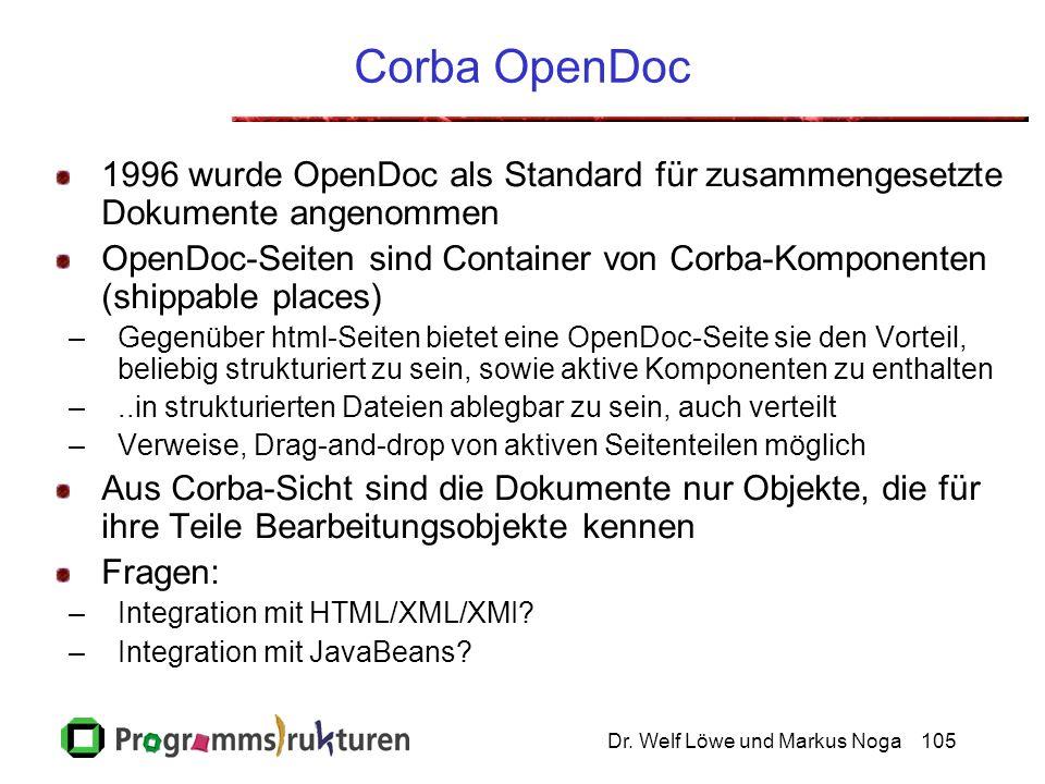 Dr. Welf Löwe und Markus Noga105 Corba OpenDoc 1996 wurde OpenDoc als Standard für zusammengesetzte Dokumente angenommen OpenDoc-Seiten sind Container