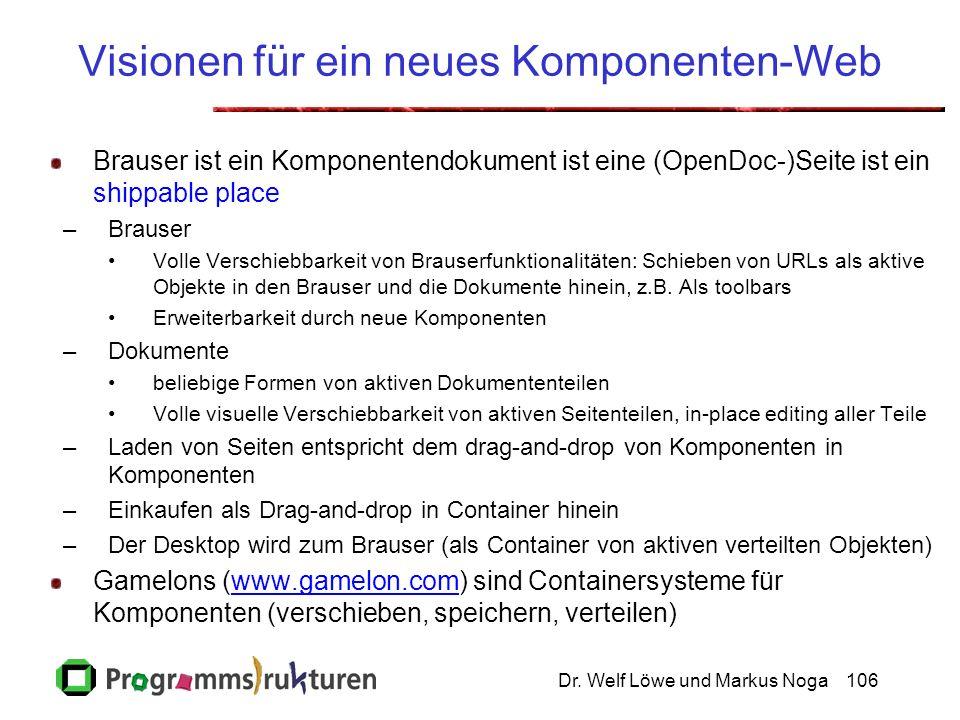 Dr. Welf Löwe und Markus Noga106 Visionen für ein neues Komponenten-Web Brauser ist ein Komponentendokument ist eine (OpenDoc-)Seite ist ein shippable