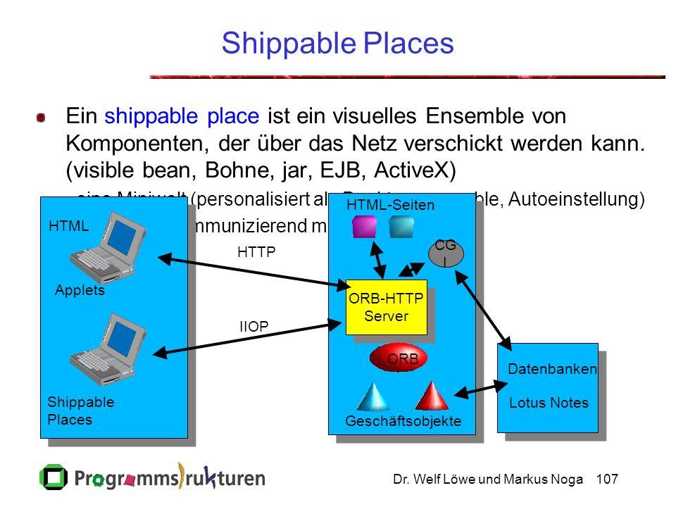 Dr. Welf Löwe und Markus Noga107 Shippable Places Ein shippable place ist ein visuelles Ensemble von Komponenten, der über das Netz verschickt werden
