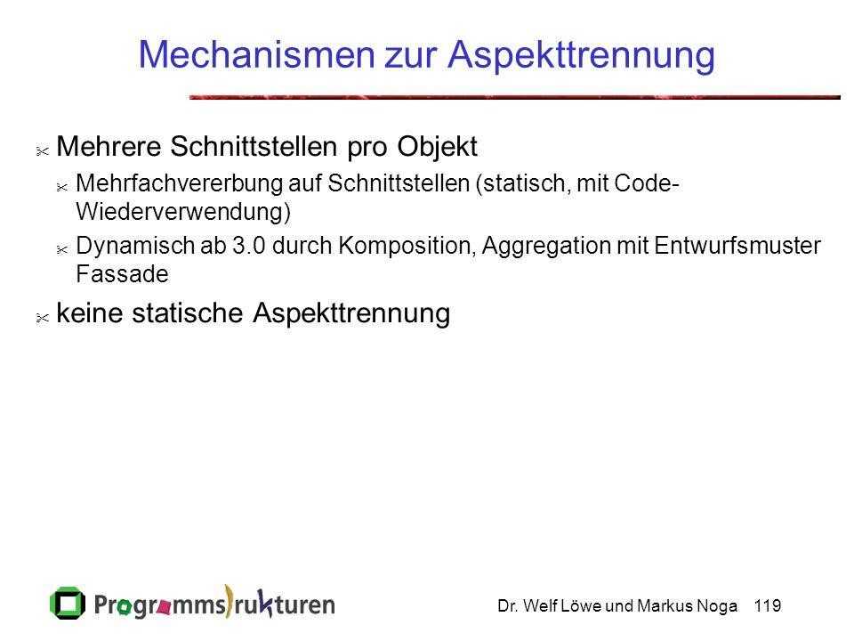 Dr. Welf Löwe und Markus Noga119 Mechanismen zur Aspekttrennung Mehrere Schnittstellen pro Objekt Mehrfachvererbung auf Schnittstellen (statisch, mit