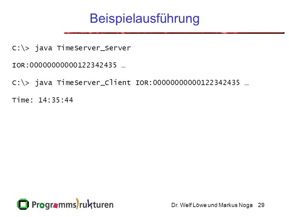 Dr. Welf Löwe und Markus Noga29 Beispielausführung C:\> java TimeServer_Server IOR:00000000000122342435 … C:\> java TimeServer_Client IOR:000000000001