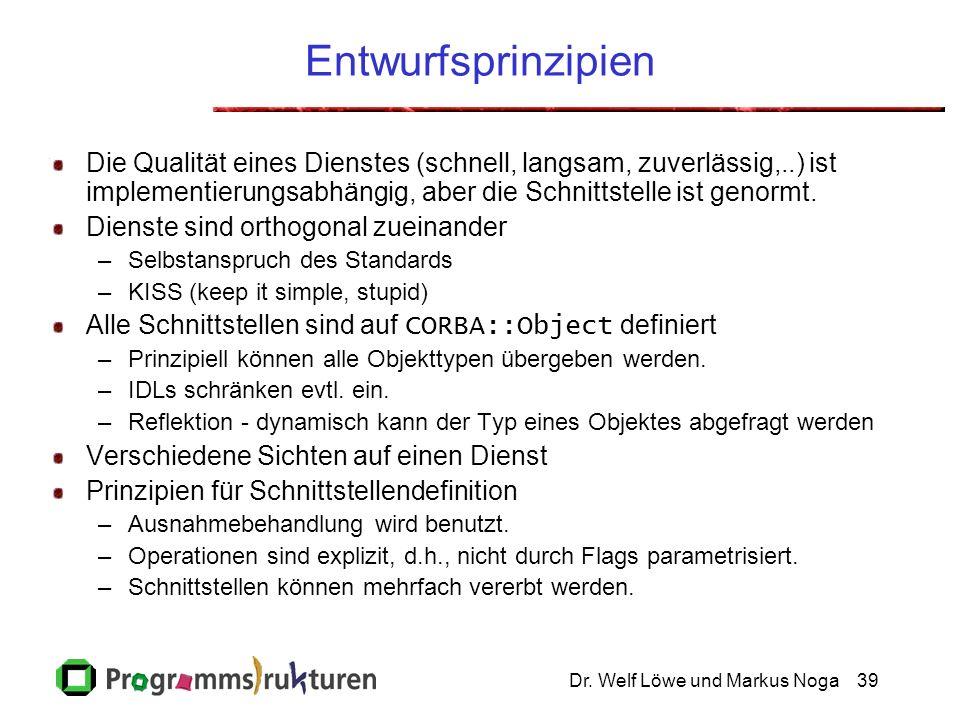 Dr. Welf Löwe und Markus Noga39 Entwurfsprinzipien Die Qualität eines Dienstes (schnell, langsam, zuverlässig,..) ist implementierungsabhängig, aber d