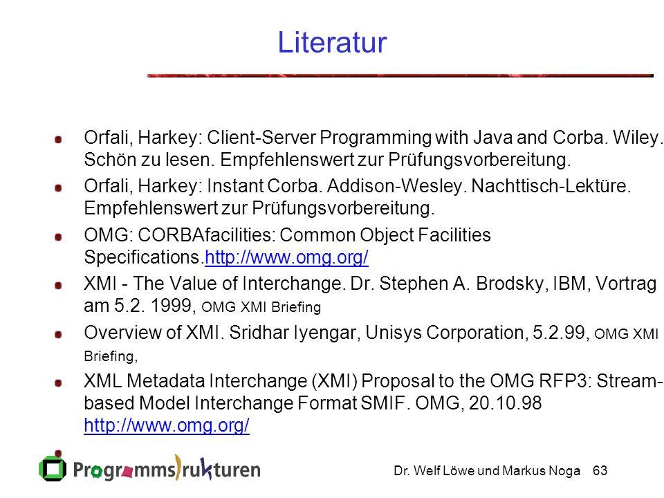 Dr. Welf Löwe und Markus Noga63 Literatur Orfali, Harkey: Client-Server Programming with Java and Corba. Wiley. Schön zu lesen. Empfehlenswert zur Prü
