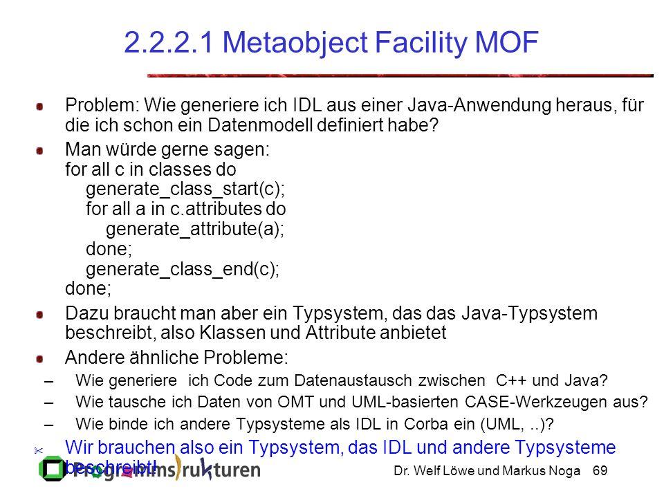 Dr. Welf Löwe und Markus Noga69 2.2.2.1 Metaobject Facility MOF Problem: Wie generiere ich IDL aus einer Java-Anwendung heraus, für die ich schon ein