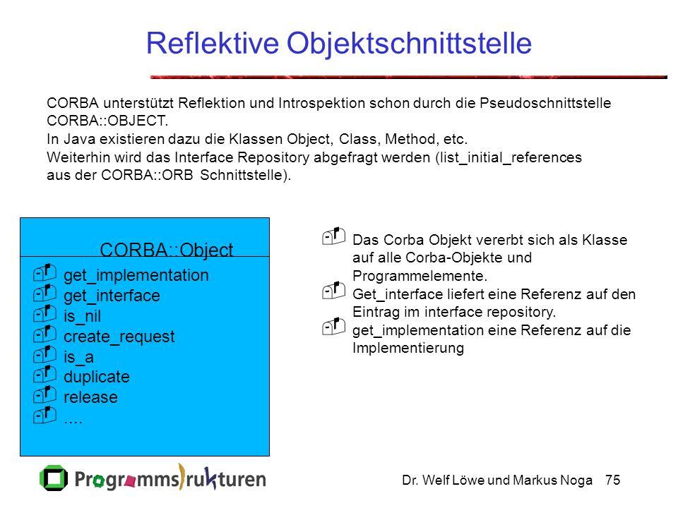 Dr. Welf Löwe und Markus Noga75 Reflektive Objektschnittstelle CORBA unterstützt Reflektion und Introspektion schon durch die Pseudoschnittstelle CORB