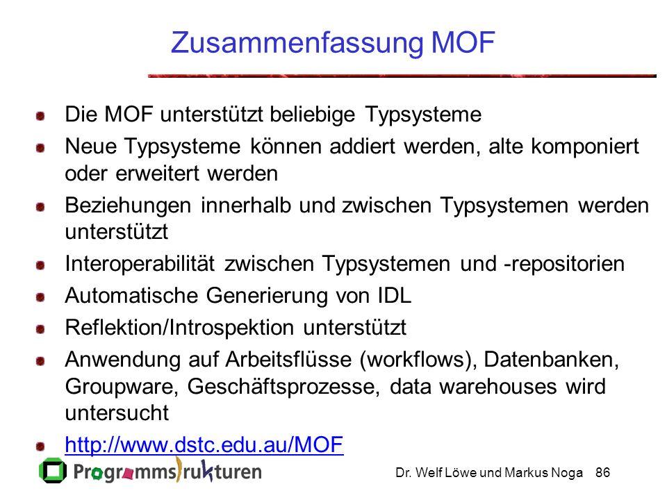 Dr. Welf Löwe und Markus Noga86 Zusammenfassung MOF Die MOF unterstützt beliebige Typsysteme Neue Typsysteme können addiert werden, alte komponiert od