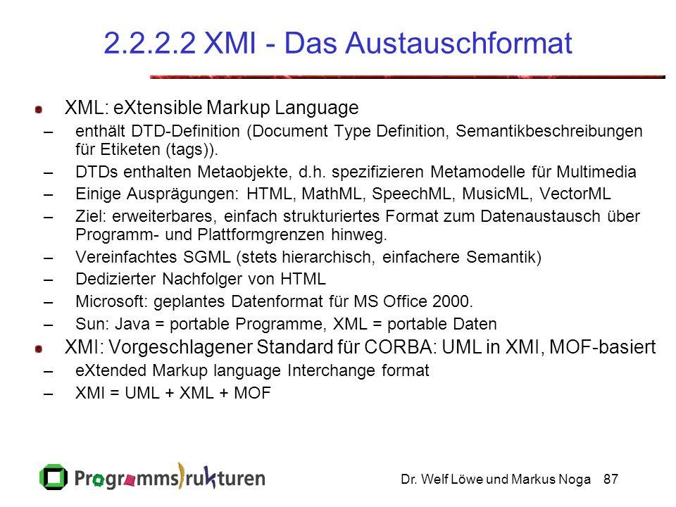 Dr. Welf Löwe und Markus Noga87 2.2.2.2 XMI - Das Austauschformat XML: eXtensible Markup Language –enthält DTD-Definition (Document Type Definition, S