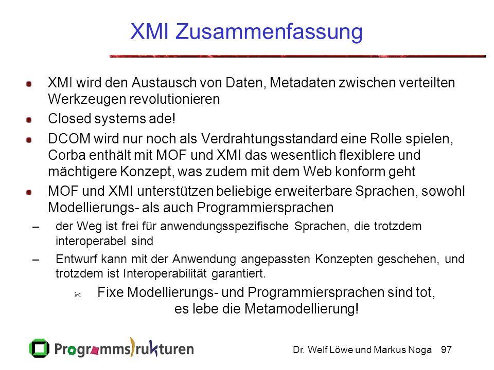 Dr. Welf Löwe und Markus Noga97 XMI Zusammenfassung XMI wird den Austausch von Daten, Metadaten zwischen verteilten Werkzeugen revolutionieren Closed