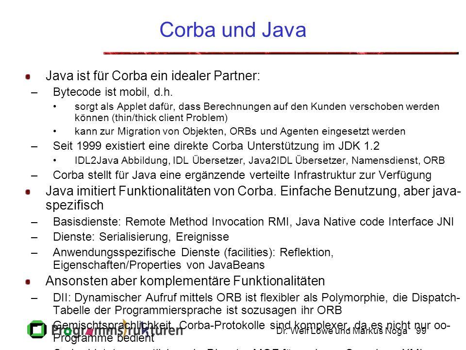 Dr. Welf Löwe und Markus Noga99 Corba und Java Java ist für Corba ein idealer Partner: –Bytecode ist mobil, d.h. sorgt als Applet dafür, dass Berechnu